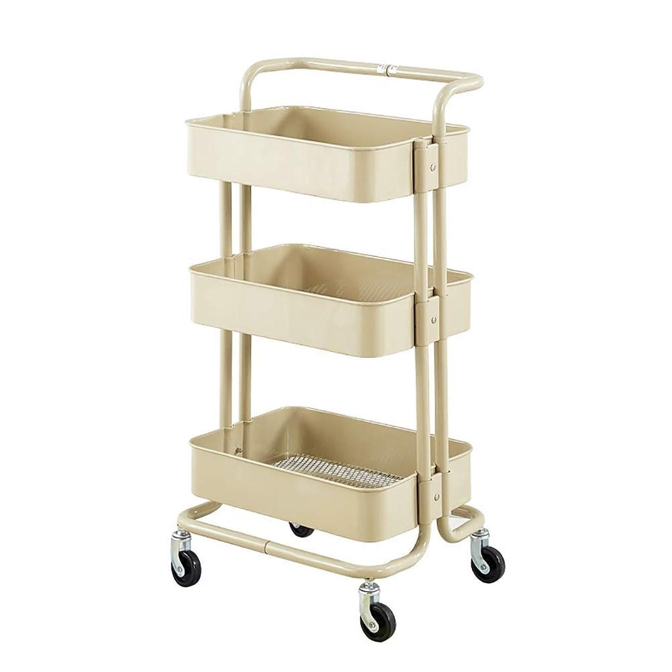 犯す焦げチップ仕事の家のカート用具の移動式美の圧延のトロリーカート、回転式滑車が付いている3層の居間/台所収納カート (Color : Beige, Size : Thickened)