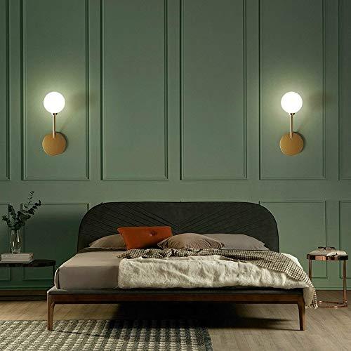 Spotlight Wall E27 LED Puur Koperen Slaapkamer Nachtlampjes Aisle Bal van het Glas Wandlamp, Voeding: Wit Licht LED5W (Gold) Wall Spotlight (Color : Gold)