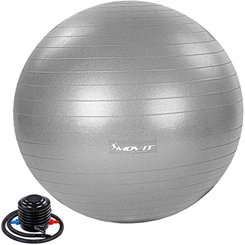 Movit® Gymnastikball »Dynamic Ball« inkl. Pumpe, 65 cm, Silber, Maximalbelastbarkeit bis 500kg, berstsicher, Fitness-Ball, Sitzball, Yogaball, Pilates-Ball, Balance