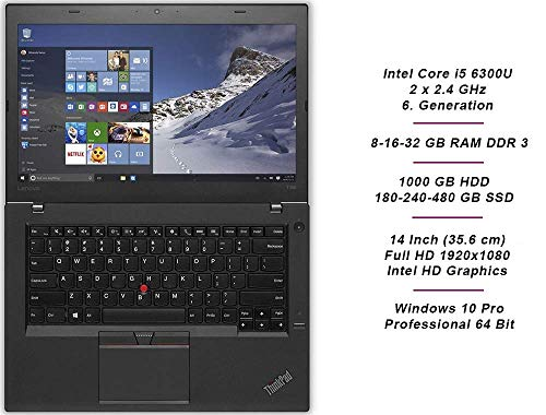 Lenovo ThinkPad T460 Business Notebook, Intel i5 2 x 2.4 GHz Prozessor, 8 GB Arbeitsspeicher, 240 GB SSD, 14 Zoll Display, Full HD, 1920x1080, IPS, Windows 10 Pro, S1G (Generalüberholt)