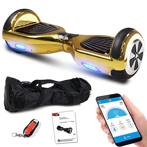 Hoverboard E-Balance Scooter mit APP-Funktion, Bluetooth, Musik, Fernbedienung und Tasche Elektroroller (GoldChrome)
