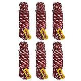 GEERTOP Dauerhaft Guy Linie Zelt Seil Camping Cord Allzweck Seile Hochfeste Stärke mit Aluminium Teller (6 Pack)