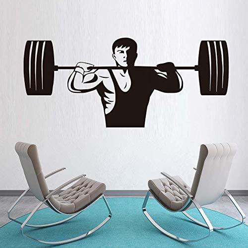 Tianpengyuanshuai Gym Fitness Muursticker Powerlifter Art Muurtattoo Spieren beweging Vinyl Art Black Wall