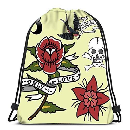 Lsjuee Backpack Drawstring Bag Old School Vintage Retro Tattoo Ink Art Style Tattooing Symbol