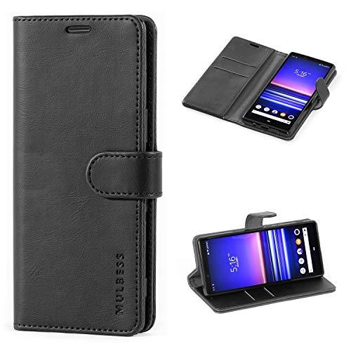 Mulbess Handyhülle für Sony Xperia 5 Hülle Leder, Sony Xperia 5 Handy Hüllen, Vintage Flip Handytasche Schutzhülle für Sony Xperia 5 Hülle, Schwarz