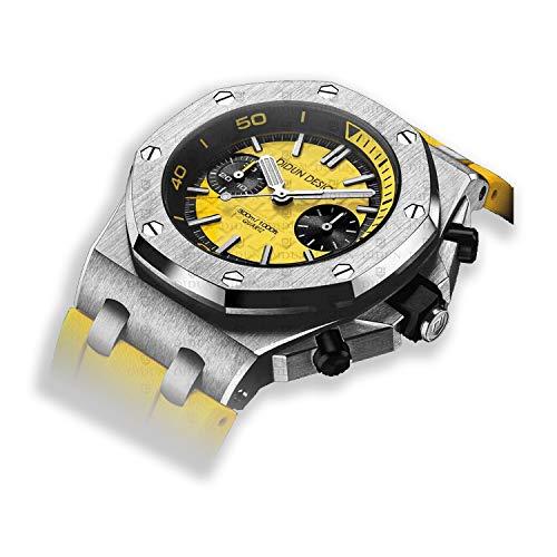 Sportliche Herren Armbanduhr, Saphirglas, Japan Quarzwerk, Didun Royal One Sport Silber/Gelb