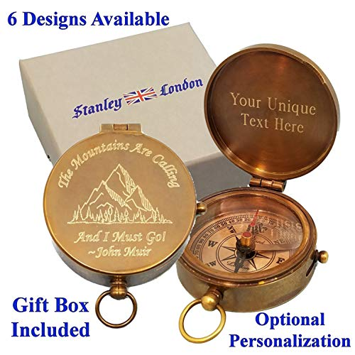 Stanley London Personalized Pocket Compass Gifts Engraved - 6 Designs - for Hiking, Graduation,...