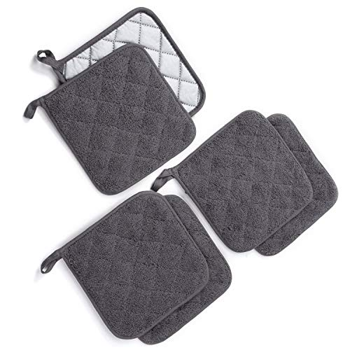 """Jennice House Potholders Set, 6 Pack of Heat Resistant Hot Mat Coasters Pure Cotton Kitchen Everyday Pot Holders, 7""""X7"""" for Cooking and Baking"""