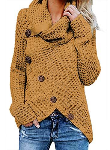 FIYOTE Damen Winterjacke Warm Strickjacke Rollkragen Cardigan Strickpullover Casual Wrap Wickel Pullover Sweater 7 Farbe S/M/L/XL/XXL, 1-gelb, XXL