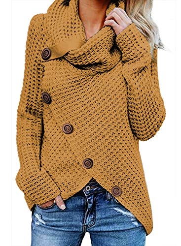 FIYOTE Damen Winterjacke Warm Strickjacke Rollkragen Cardigan Strickpullover Casual Wrap Wickel Pullover Sweater 7 Farbe S/M/L/XL/XXL, 1-gelb, M