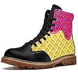 TIZORAX Botas de invierno para las mujeres de fresa helado derretido en waffle imprime alta parte superior con cordones clásicos zapatos de la escuela de lona, color Multicolor, talla 37 EU