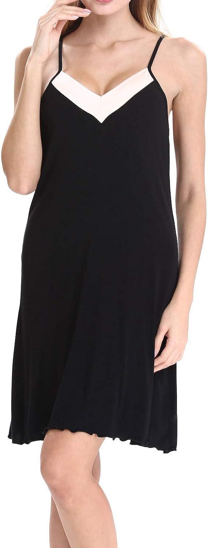N NORA TWIPS Nightgown Womens Sleeveless Sleepwear V Neck Sleep Dress (Black,XL)