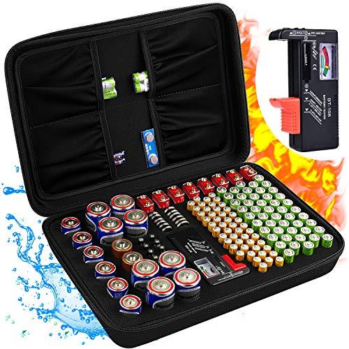Batterie Aufbewahrungsbox Feuerfeste Tragetasche Batteriebox mit Tester Hält 200+ Batterien unterschiedlicher Größe für AAA,AA, 9V,C und D Größe und Tester (ohne Batterien)