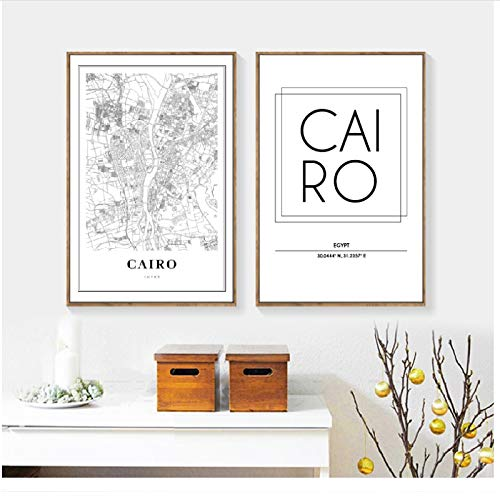 chthsx Kairo Egypte kaart muurkunst canvas schilderij modern minimalistische affiches en afdrukken kairo stad straatkaart muurschildering wooncultuur -40x60x2Pcscm geen lijst