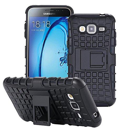 ECENCE Handyhülle Schutzhülle Outdoor Hülle Cover kompatibel für Samsung Galaxy J3 (2016) Duos Handytasche Schwarz 31010303