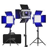 GVM - Juego de 3 luces LED RGB para estudio de vídeo con control de aplicación CRI 97+ regulable 3200 K-5600 K con trípode de luz para YouTube Studio, fotografía, luz de vídeo (800D, 3 unidades)