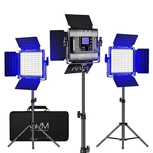 GVM - Luci video LED RGB, Studio Video Lights con controllo App CRI 97+, dimmerabili 3200 K - 5600 K, con treppiedi per YouTube Studio, fotografia, video (800D 3 pezzi)