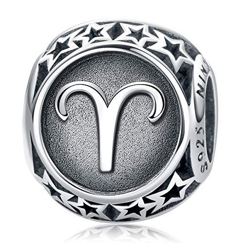 NINAQUEEN Charm für Pandora Charms Armband Widder Sternzeichen Geschenk für Frauen Silber 925 Zirkonia Schmuck Damen mit Schmuckkasten