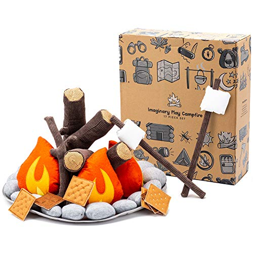 HUNIIHOME Pretend Campfire for Kids - Sensory Play Camping Toy Set with Plush Felt Fake Fire, Logs and Stones with Fake Food Marshmallow and S'Mores - 17 Piece Set