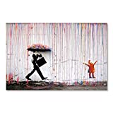 Banco Colorido Lluvia Arte de la pared Pintura de la lona Decoración del hogar Obra de arte Cartel e Imagen de pared impresa 50X75cm