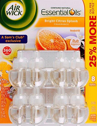 Air Wick Bright Citrus Splash Essential Scented Oils, 8 Refill Bottles