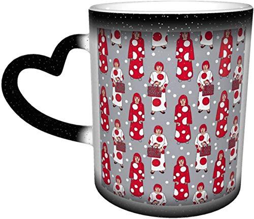 Yayoi Kusama - Taza de café con lunares rojos y blancos para mujer, color gris, sensible al calor, taza de café, taza de cerámica, regalos personalizados para familiares y amigos
