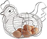 Dcasa - Huevera de gallina clásica plateada de metal para cocina Basic