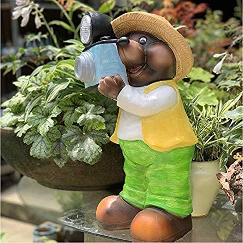 Garden Sculpture Outdoor Statues Raccoon Solar Lights Waterproof Resin For Yard Balcony Garden Ornaments 20 * 18 * 40CM