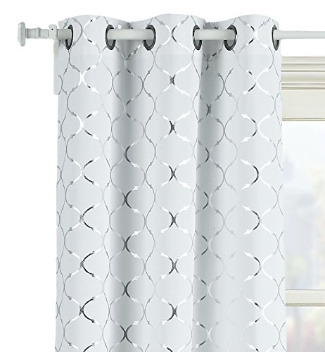 GoodGram 2 Pack Lattice Metallic Foil Ultra Luxurious Grommet Top Curtains - Assorted Colors & Sizes (84 in. Long, Silver)