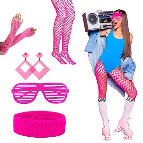 LAMEK 5 Stück 80er Jahre Kostüm Zubehör Damen Neon Party Outfit 1980s Kleidung Accessoires Partyzubehör mit Strinband Ohrring Brille Netzstrumpf Netzhandschuhe für Frauen Mädchen Karneval Flasching