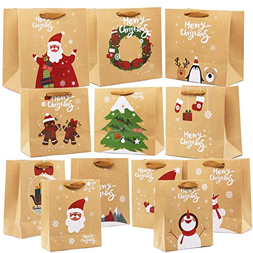Lulu Home 24 Pcs Christmas Kraft Gift Bags with Handles, Kraft Bags with Assorted Christmas Prints, Christmas Gift Bags Large, Medium and Small for Packing