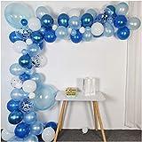 Luvier Kit de arco de globo de látex azul océano con tira/102 piezas de látex/confeti grandes a pequeños globos de fiesta para tiburón bajo el mar fiesta de bebé decoración (azul océano)