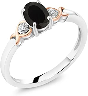 925 Sterling Silver and 10K Rose Gold Ring Black Onyx with Diamond Accent 0.80 cttw (Available 5,6,7,8,9)