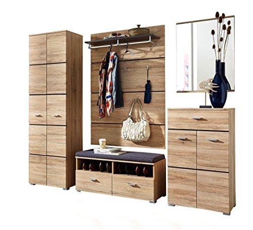 Stella Trading Fresh Garderobe, Garderobenset, Garderobenkombination, Holz, Braun, (B/H/T) 240 x 200 x 40 cm