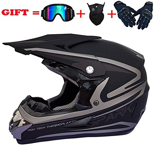 TIANDU Motocross Helmet Handsome Teen Adult ATV Motorcycle Helmet SUV Mask Goggles Gloves,Fashion Dirt Bike Off-Road Mountain Bike Helmet 4-Piece Set Unisex,27,L