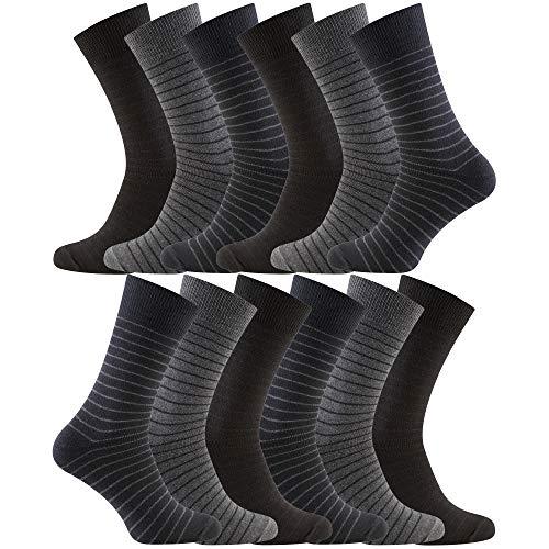 Charles Wilson 12 Paar Damen & Herren Socken (9-11, Assorted Stripe (0619))