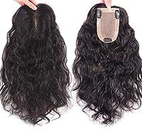 女性用ヒューマンヘアトッパーヘアピース、脱毛用3.5 'x 5.5'ハンドメイドタイドヘアトッパー、カーリー11.8 'ダークブラウン