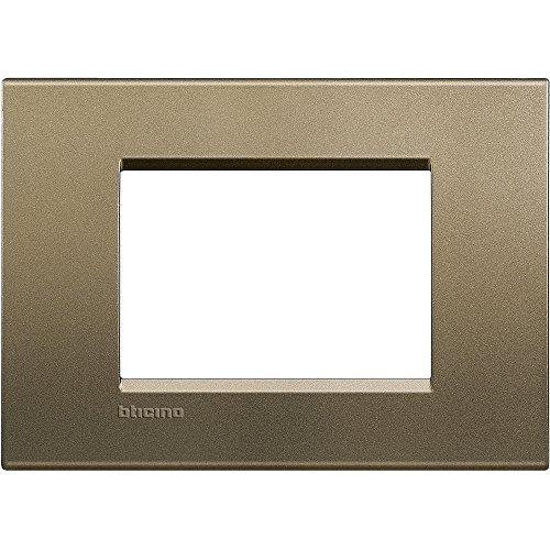 BTicino Livinglight Placca 3 Moduli, Forma Rettangolare, Bronzo