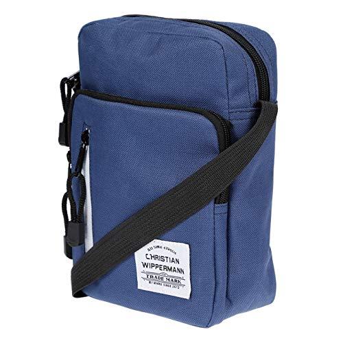 Christian Wippermann Kleine Herren Damen Umhängetasche Schultertasche Tasche aus Nylon Maße 18x23x8 cm Blau
