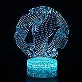 Luz de ilusión 3D USB acrílico LED luz nocturna Anime esfera abstracta tema decoración lámpara de mesa niños amigos cumpleaños regalo de Navidad