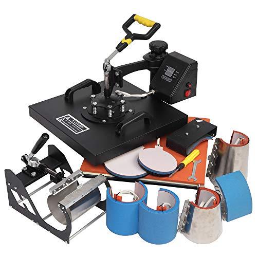 ROVSUN 8 in 1 Combo Heat Press Machine, 15x15 Inch 360° Swing Away Multifunctional Digital Transfer Sublimation Print, for T-Shirt/Mug/Hat/Plate/Cap, 1250W Black