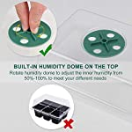 Acmind 10 Packs Seed Starter Trays Seedling Tray, Humidity Adjustable Kit with Dome and Base Greenhouse Grow Trays Mini… 10 Keep and eye on your growth:Our germination growing trays kit made of high quality transparent and durable plastic, this seed trays make it easy to observe your plants without interrupting the process. Seed starter tray contains: 10 x seed tray, 10 x bottom tray(5 Green & 5 Black), 10 x humidity dome(5 Green & 5 Black), 2 x garden tools, 20 x plant labels (A must have for seedling). Good Helper of Seed Starter:Adjustable vents on the humidity dome of this seed starter kit allow you to regulate the temperature and humidity of your seedling environment, so you have total control over the growing process.