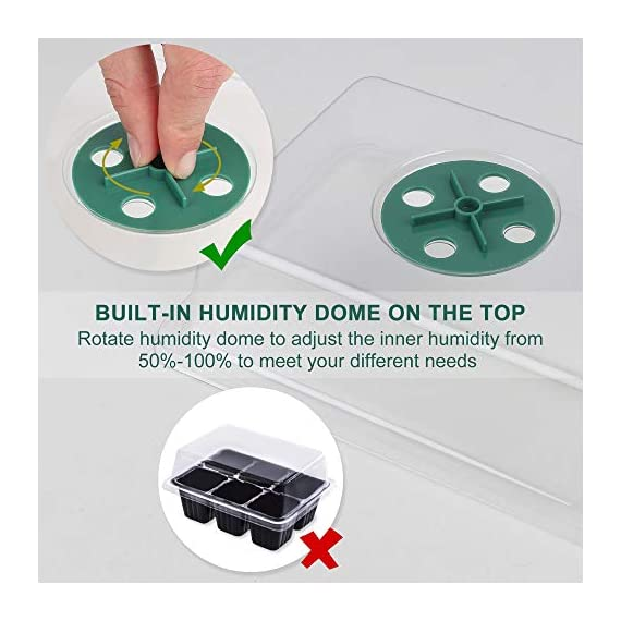 Acmind 10 Packs Seed Starter Trays Seedling Tray, Humidity Adjustable Kit with Dome and Base Greenhouse Grow Trays Mini… 3 Keep and eye on your growth:Our germination growing trays kit made of high quality transparent and durable plastic, this seed trays make it easy to observe your plants without interrupting the process. Seed starter tray contains: 10 x seed tray, 10 x bottom tray(5 Green & 5 Black), 10 x humidity dome(5 Green & 5 Black), 2 x garden tools, 20 x plant labels (A must have for seedling). Good Helper of Seed Starter:Adjustable vents on the humidity dome of this seed starter kit allow you to regulate the temperature and humidity of your seedling environment, so you have total control over the growing process.