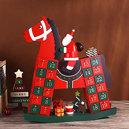 lskull Calendrier de l'Avent en bois avec 24 portes - Calendrier de l'Avent réutilisable en bois avec Père Noël sur un cheval à bascule rouge traditionnel avec 2021