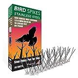 Aspectek Sistema Anti pájaros de Acero Inoxidable - 10 hileras de Púas antipalomas con base de Policarbonato para control de aves y Palomas