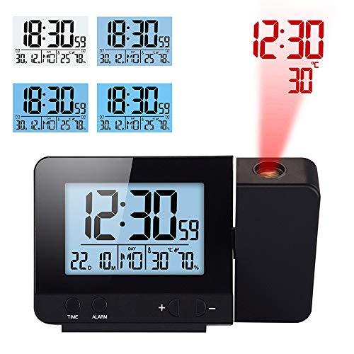 TopHGC Projektionswecker, Doppelalarm mit USB Ladeanschluss 12/24 Stunden Innentemperatur Datum Zeitanzeige mit Einstellbarer Hintergrundbeleuchtung (Schwarz)