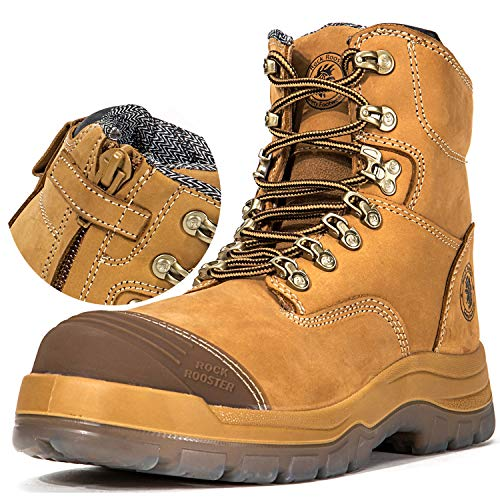 ROCKROOSTER Work Boots for Men, 8 inch, YKK Zipper, Steel Toe, Slip Resistant Safety Oiled Leather Shoes, Static Dissipative, Breathable, Quick Dry, Anti-Fatigue(AK232Z 8)