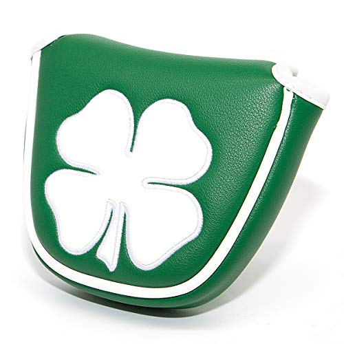 barudan golf Green White Shamrock Golf Headcover Head Covers Magnetic Mallet Putter Club Cover Protector Synthetic Leather Well Made for Odyssey 2ball Putters,Scotty Cameron,Tayormade,Ping