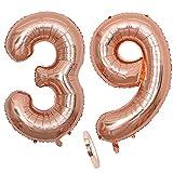 Globos numeros 39 años, Number globo número 39 oro rosa para niña Mujeres Chica, 40' Figuras Decor globo de lámina de helio inflable, gigante grande decoración fiesta de cumpleaños boda (xxxl 100cm)