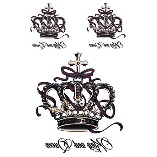 Manyo Abnehmbare Wasserdichte Temporäre Tattoos Body Art Sticker König Und Königin Krone